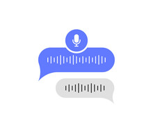 Voice Messages Bubble Icon With Sound Wave And Microphone. Voice Messaging Correspondence. Modern Flat Style Vector Illustration