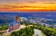 St. Leon Chapel On Top Of Dabo Rock In The Vosges Mountains - Moselle, France