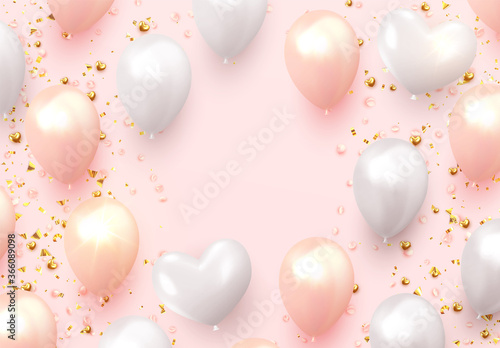 Cuadros en Lienzo Background with festive realistic balloons with ribbon