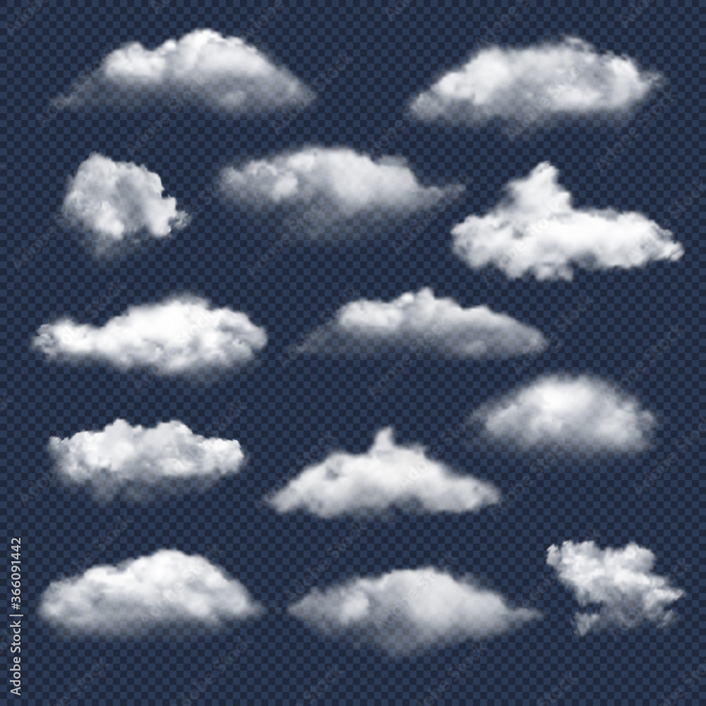 Obraz Clouds realistic. Nature sky weather symbols rain or snow cloud vector collection. Cloud and sky, cloudy meteorology, weather elements illustration fototapeta, plakat