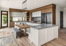 Beautiful Kitchen In New Modern Luxury Home With Large Island