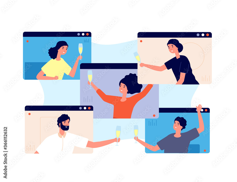 Fototapeta Online party. Friends celebrate birthday, meeting in isolation or quarantine. Video technology, people group drinks screen vector concept. Online call meeting, internet video conference illustration