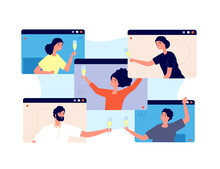 Online Party. Friends Celebrate Birthday, Meeting In Isolation Or Quarantine. Video Technology, People Group Drinks Screen Vector Concept. Online Call Meeting, Internet Video Conference Illustration
