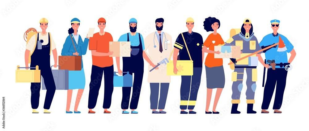 Fototapeta Frontliners characters. Essential workers, coronavirus work hero. Doctor nurse police postman, teamwork in pandemic time vector illustration. Doctor and courier, healthcare team frontline