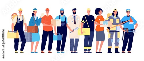Frontliners characters. Essential workers, coronavirus work hero. Doctor nurse police postman, teamwork in pandemic time vector illustration. Doctor and courier, healthcare team frontline