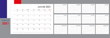 Calendar For 2021 Year. An Organizer And Planner For Every Day. Week Starts From Monday. 12 Boards, Months Set. Wall Layout. Clear Template. French Language.