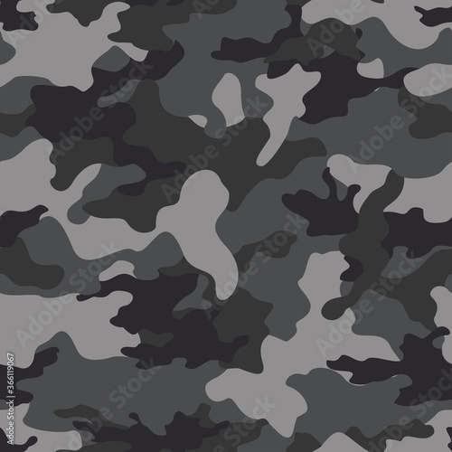 Vector gray seamless camouflage pattern on print. Canvas Print