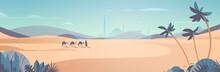 Caravan Of Camels Going Through Desert Eid Mubarak Greeting Card Ramadan Kareem Template Arabic Landscape Horizontal Vector Illustration
