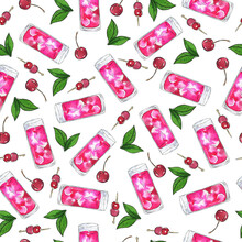 Seamless Pattern With Pink Cocktail Glasses, Green Leaves And Cherry On White Background. Hand Drawn Watercolor And Ink Illustration.