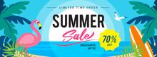 Summer Sale Banner Vector Illustration. Sunset Beach With Flamingo.