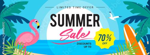 Fototapeta Summer sale banner vector illustration. Sunset beach with flamingo. obraz