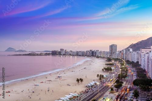 View of Copacabana Beach and Avenida Atlantica boulevard in Rio de Janeiro, Brazil - 366129819