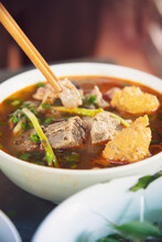 A Steaming Dish Of Bun Bo Hue,...