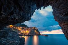 Manarola At Dusk View From A Grotto, Cinque Terre, La Spezia Province, Liguria