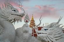 Wat Huay Pla Kang Temple (Big Buddha) At Dusk, Chiang Rai