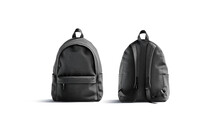 Blank Black Backpack With Zipper And Strap Mockup, Front Back