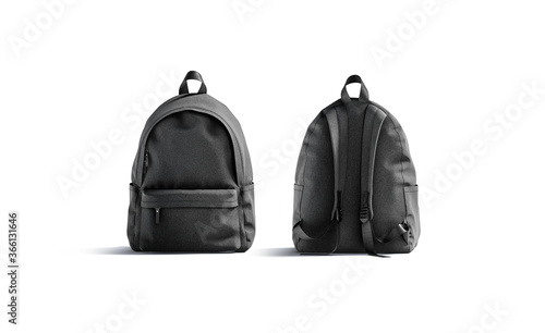 Photo Blank black backpack with zipper and strap mockup, front back