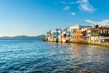 Mykonos Town At Sunset With Mo...