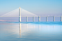 The Vasco Da Gama Bridge, A Cable-stayed Bridge Spanning The Tagus River In Parque Das Nacoes (Park Of The Nations)