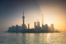 Skyline Of Pudong At Sunrise, ...