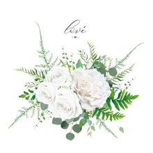Floral Bouquet: Ivory White Peony Rose Flowers, Eucalyptus Branch, Greenery Forest Fern, Asparagus Leaves & Plants Botanical Vector Illustration. Elegant Wedding Invitation, Invite, Save The Date Card