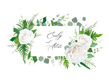 Wedding Floral Invitation, Invite, Save The Date Card. Vector Floral Frame Design: White Peony Rose Flower, Eucalyptus Branch, Greenery Forest Fern Leaves Botanical Illustration. Creative Art Template
