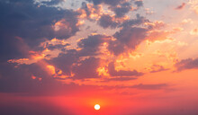 Beautiful Colorful Sunset Sky With Orange Clouds. Nature Sky Background.