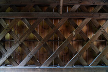 Inside View Of The Wood Trusses In The Historic Wooden Covered Cabin Run Bridge In Plumstead, Bucks County, Pennsylvania, United States.