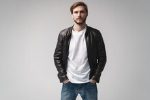 Fashion Man, Handsome Serious Beauty Male Model Portrait Wear Leather Jacket, Young Guy Over White Background