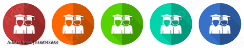 Valokuva Education icon set, educate, graduate, female and male students, red, blue, gree