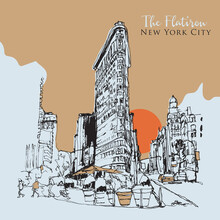 Drawing Sketch Illustration Of He Flatiron Building In New York City