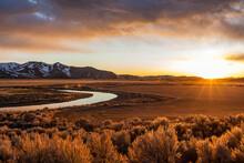USA, Idaho, Picabo, Sunset Ove...