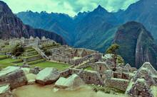 Peru, Machu Pichu, View Of Machu Pichu And Ruins Of Aztec Village