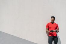 Sportsman Standing At A Wall U...