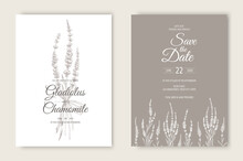 Vector Wedding Invitations Set With Lavender Flowers. Romantic Tender Floral Design For Wedding Invitation, Save The Date And Thank You Cards.