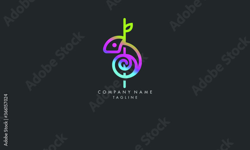 Fotografie, Obraz Unique and Elegant Stylish lizard chameleon logo illustration of the geometric design of flat art