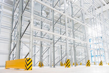 Empty High Rack Warehouse In A Factory