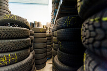 Close-up Of Rubber Tire Stacks...