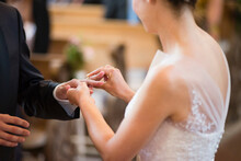 Bride Wearing Wedding Ring To ...
