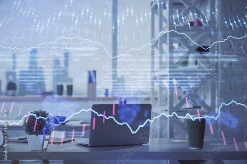 Double exposure of stock market graph drawing and office interior background. Concept of financial analysis.