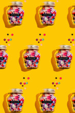 Pattern Of Jars Of Colorful Confetti