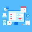Home office. Work from home concepts. Flat style design. Vector illustration. Modern graphic elements