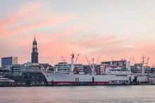 Germany, Hamburg,ÔøΩCap San DiegoÔøΩship Moored In Harbor At Dusk