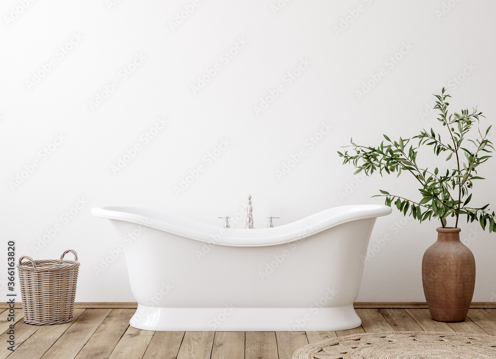 Fototapeta White cozy bathroom interior background, wall mockup, 3d render