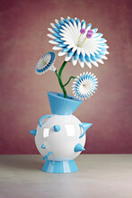 3D Illustration,Plastic Flower In A Futuristic Vase