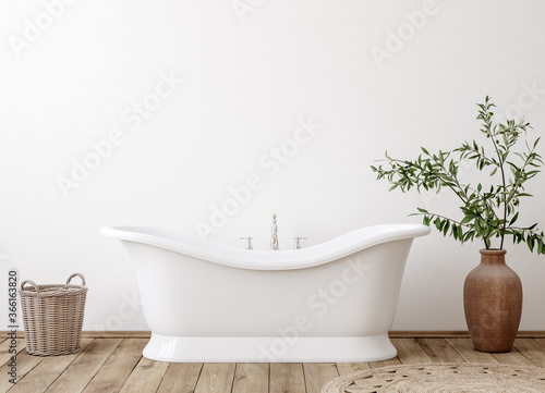Fotografie, Tablou White cozy bathroom interior background, wall mockup, 3d render