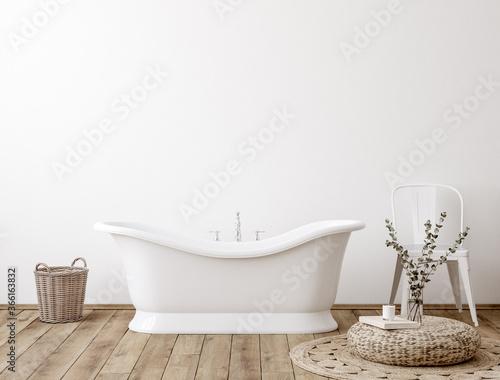 Obraz White cozy bathroom interior background, wall mockup, 3d render - fototapety do salonu