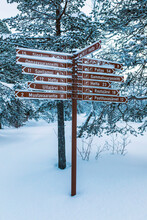 Signpost In Winter, Ounasjaervi, Hetta, Enontekioe, Finland
