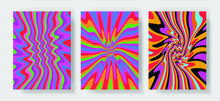 Trippy Retro Covers With Bright Acid Rainbow Colors And Groovy Geometric Wavy Pattern In Style Of The 60s-70s. Poster Template For Music Party.