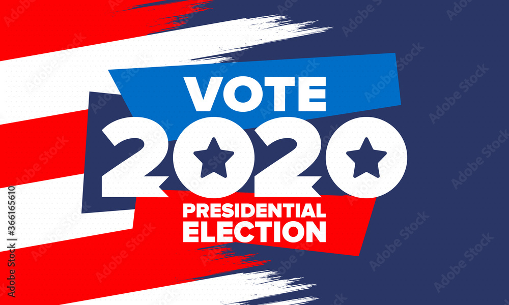 Fototapeta Presidential Election 2020 in United States. Vote day, November 3. US Election. Patriotic american element. Poster, card, banner and background. Vector illustration